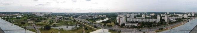 Панорама с обзорной площадки Национальной библиотеки Беларуси