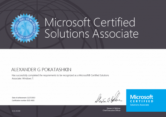 Microsoft Certified Solutions Associate (MCSA): Windows 7