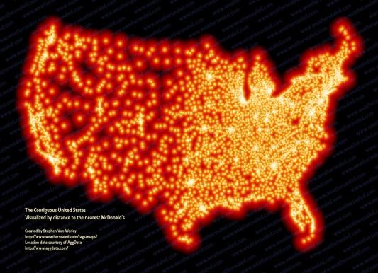 Расположение ресторанов McDonald's в США