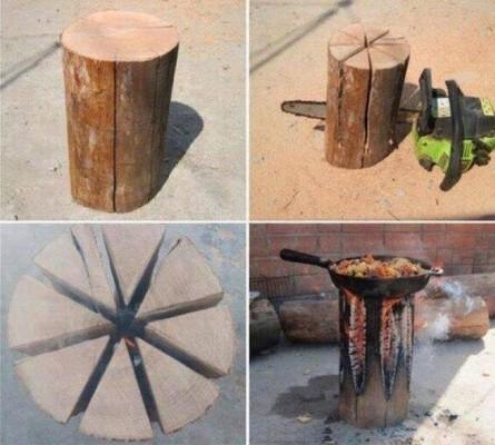 Деревянный чурбан и сковородка