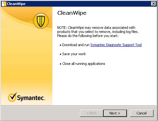Symantec CleanWipe Removal Tool
