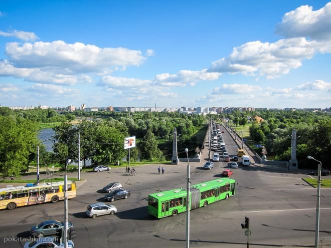 Вид на Днепровский мост с Советской площади, Могилёв