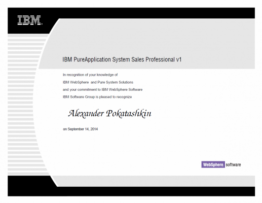 IBM PureApplication System Sales Professional v1