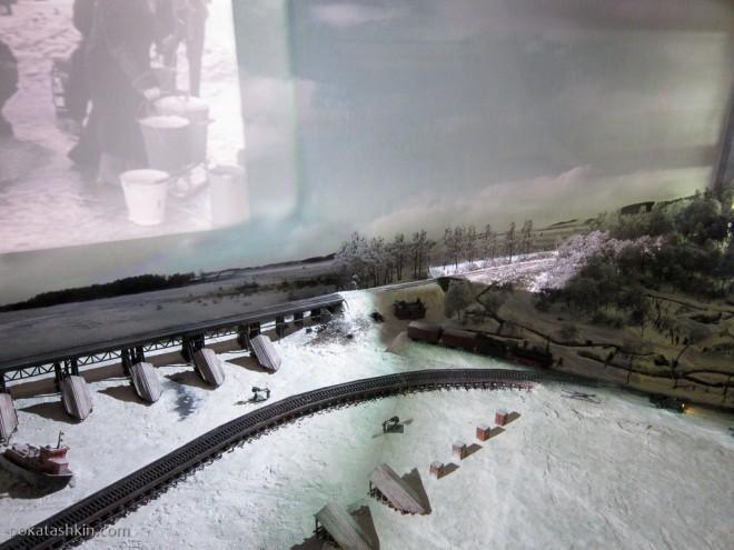 Модель мостов через Неву на дороге Победы, 1943 год.