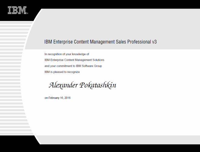 IBM Enterprise Content Management Sales Professional v3