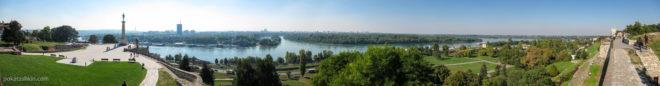 Панорама со стены Белградской крепости на Саву и Дунай