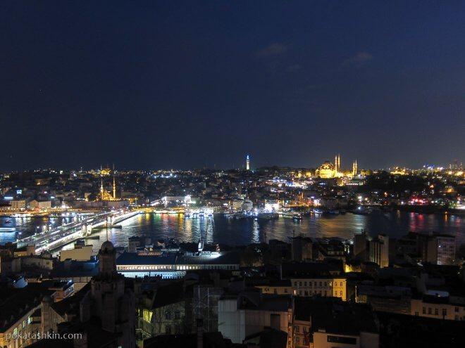 Вечерний Стамбул, вид с Галатской башни на Золотой Рог