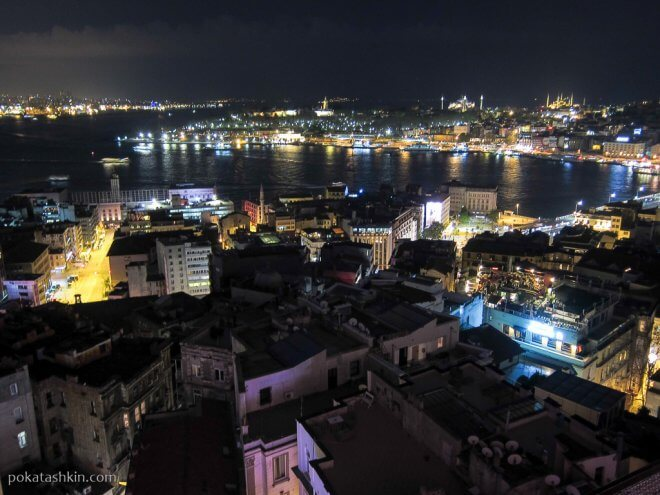 Вечерний Стамбул, вид с Галатской башни на Мраморное море