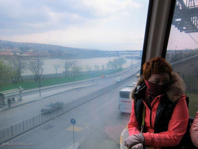 Вид из кабины канатной дороги в Стамбуле