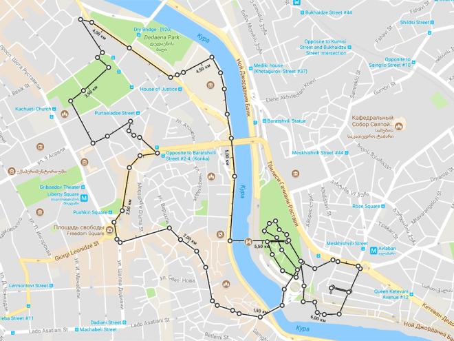 Маршрут первого дня в Тбилиси